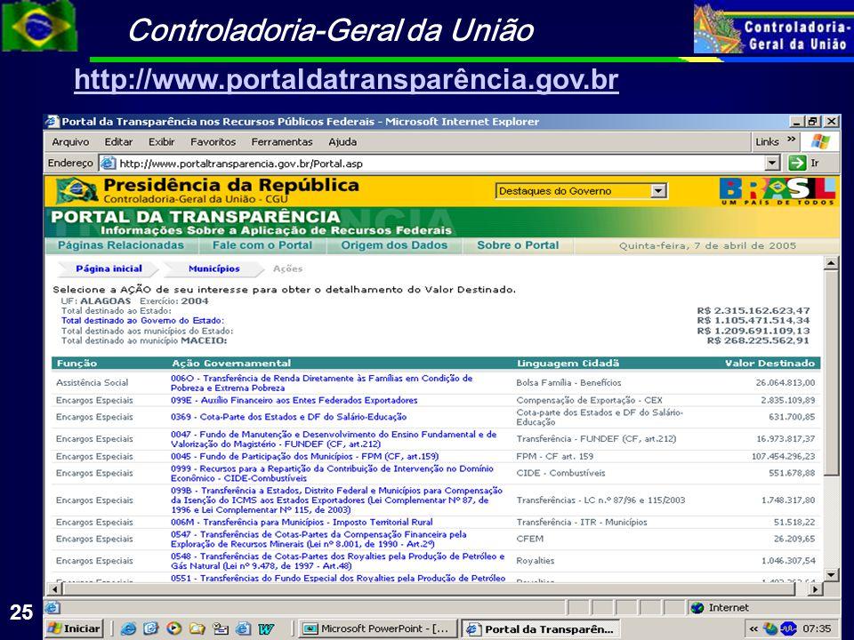 Controladoria-Geral da União 25 http://www.portaldatransparência.gov.br