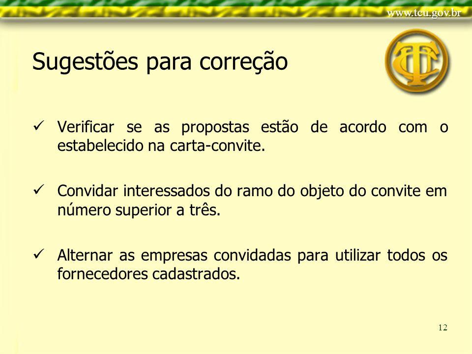 Clique para editar o estilo do título mestre Clique para editar os estilos do texto mestre Segundo nível Terceiro nível Quarto nível Quinto nível 12 Verificar se as propostas estão de acordo com o estabelecido na carta-convite.