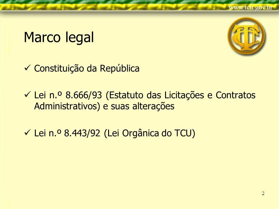 Clique para editar o estilo do título mestre Clique para editar os estilos do texto mestre Segundo nível Terceiro nível Quarto nível Quinto nível 2 Marco legal Constituição da República Lei n.º 8.666/93 (Estatuto das Licitações e Contratos Administrativos) e suas alterações Lei n.º 8.443/92 (Lei Orgânica do TCU)