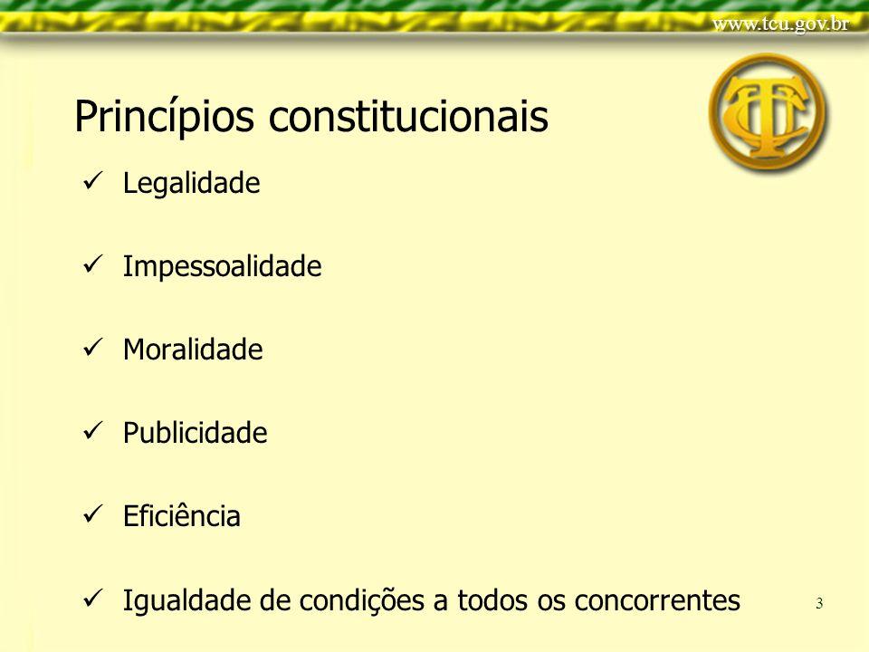 Clique para editar o estilo do título mestre Clique para editar os estilos do texto mestre Segundo nível Terceiro nível Quarto nível Quinto nível 3 Princípios constitucionais Legalidade Impessoalidade Moralidade Publicidade Eficiência Igualdade de condições a todos os concorrentes