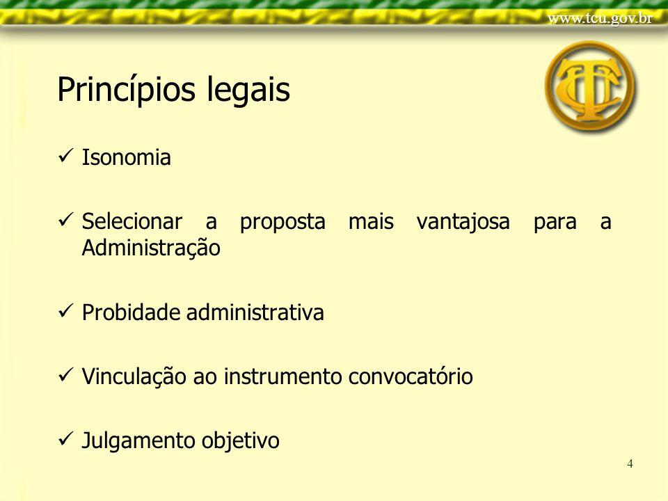Clique para editar o estilo do título mestre Clique para editar os estilos do texto mestre Segundo nível Terceiro nível Quarto nível Quinto nível 4 Isonomia Selecionar a proposta mais vantajosa para a Administração Probidade administrativa Vinculação ao instrumento convocatório Julgamento objetivo Princípios legais
