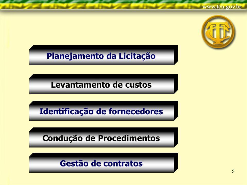 Clique para editar o estilo do título mestre Clique para editar os estilos do texto mestre Segundo nível Terceiro nível Quarto nível Quinto nível 5 Planejamento da Licitação Condução de Procedimentos Levantamento de custos Identificação de fornecedores Gestão de contratos