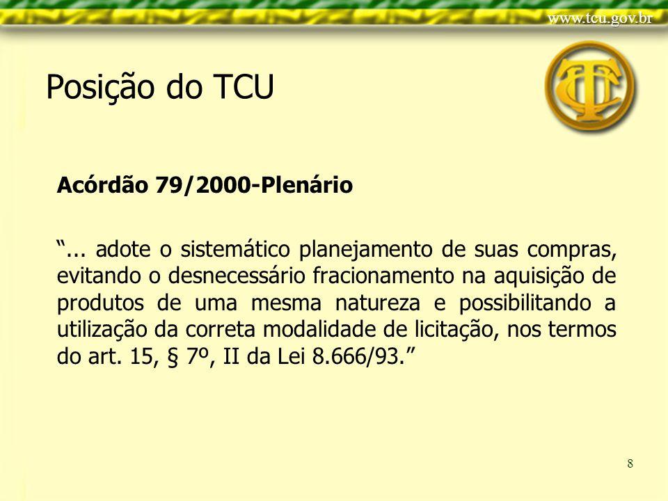 Clique para editar o estilo do título mestre Clique para editar os estilos do texto mestre Segundo nível Terceiro nível Quarto nível Quinto nível 8 Posição do TCU Acórdão 79/2000-Plenário...