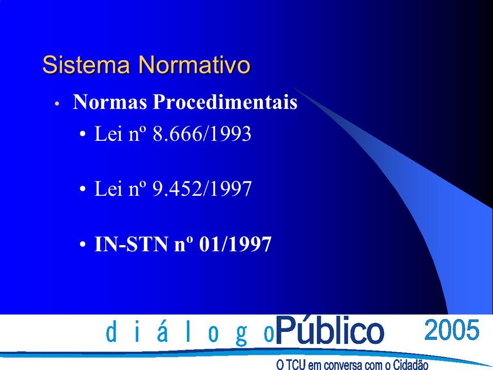 Sistema Normativo Normas Procedimentais Lei nº 8.666/1993 Lei nº 9.452/1997 IN-STN nº 01/1997