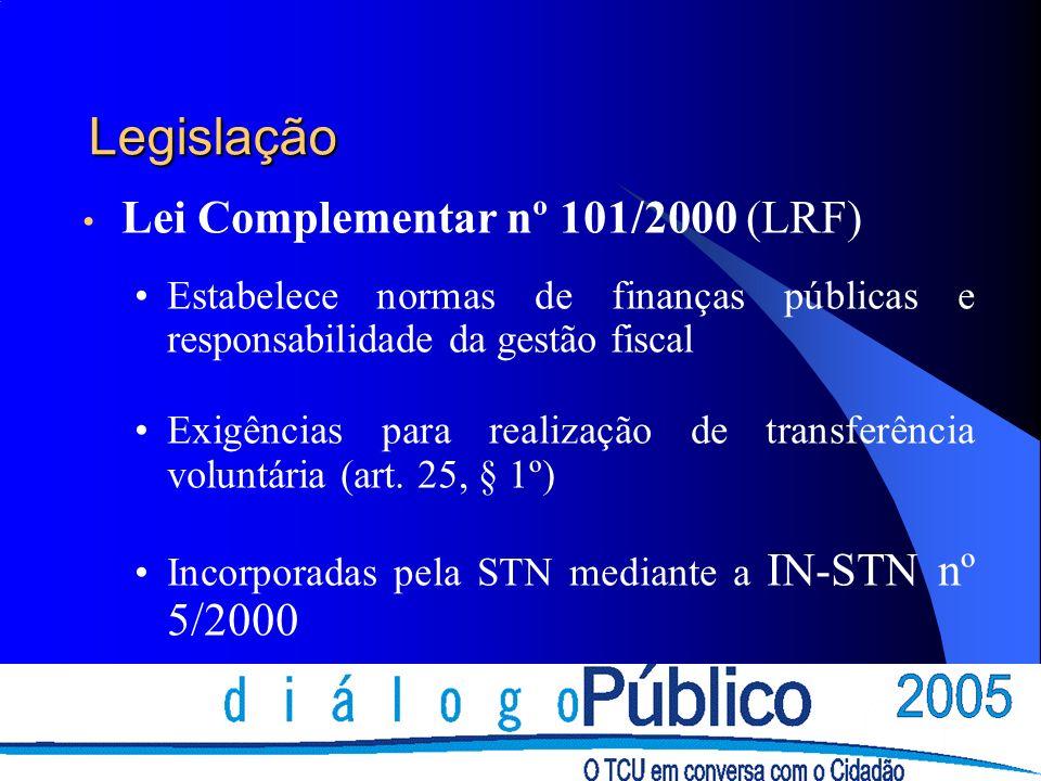 Legislação Lei Complementar nº 101/2000 (LRF) Estabelece normas de finanças públicas e responsabilidade da gestão fiscal Exigências para realização de transferência voluntária (art.