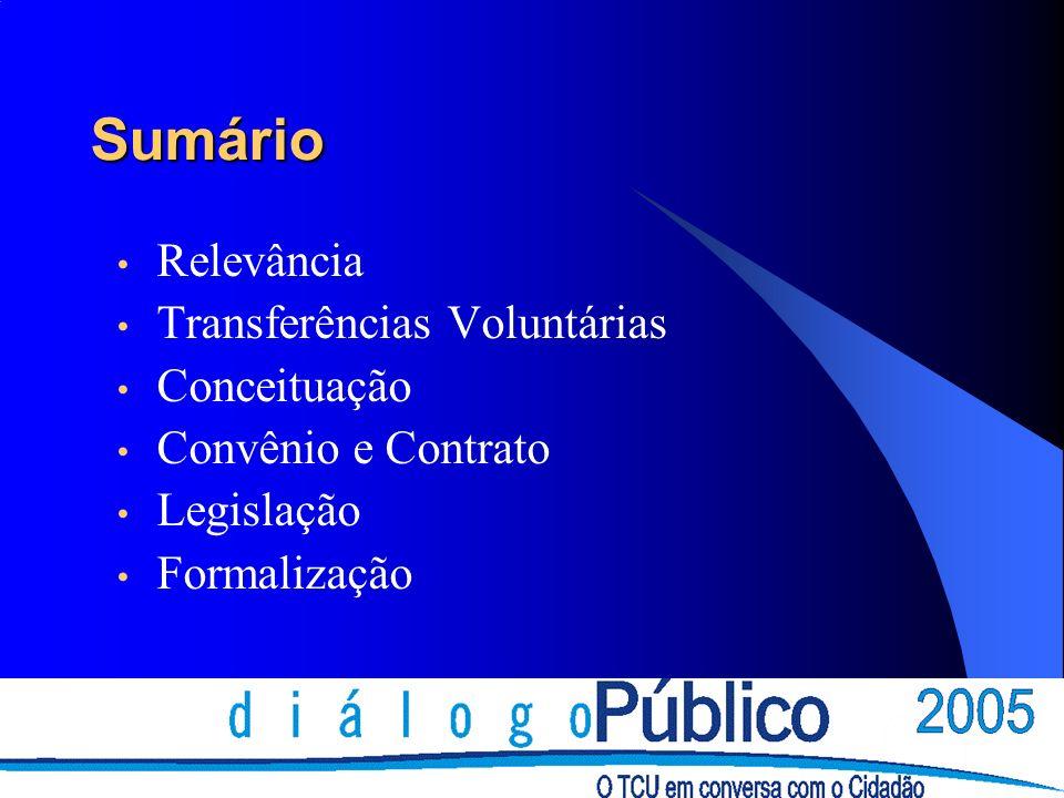 Sumário Relevância Transferências Voluntárias Conceituação Convênio e Contrato Legislação Formalização