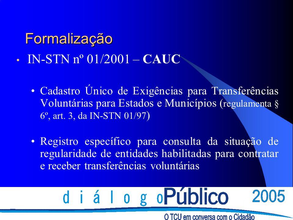 Formalização IN-STN nº 01/2001 – CAUC Cadastro Único de Exigências para Transferências Voluntárias para Estados e Municípios ( regulamenta § 6º, art.