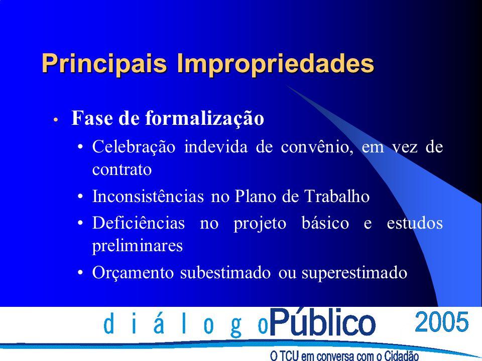 Principais Impropriedades Fase de formalização Celebração indevida de convênio, em vez de contrato Inconsistências no Plano de Trabalho Deficiências no projeto básico e estudos preliminares Orçamento subestimado ou superestimado