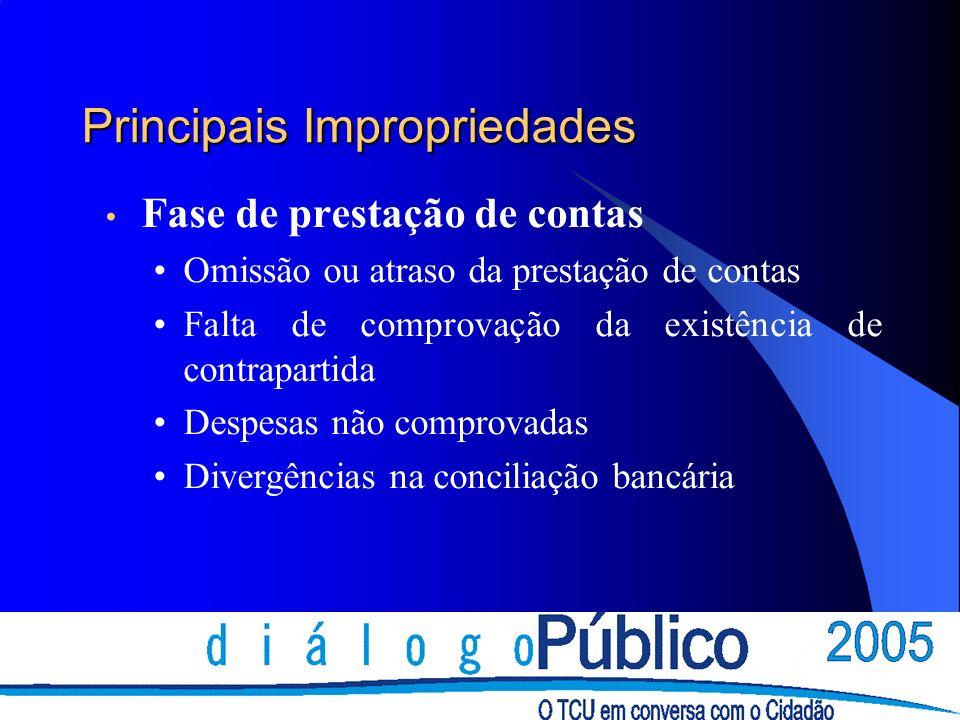 Principais Impropriedades Fase de prestação de contas Omissão ou atraso da prestação de contas Falta de comprovação da existência de contrapartida Despesas não comprovadas Divergências na conciliação bancária