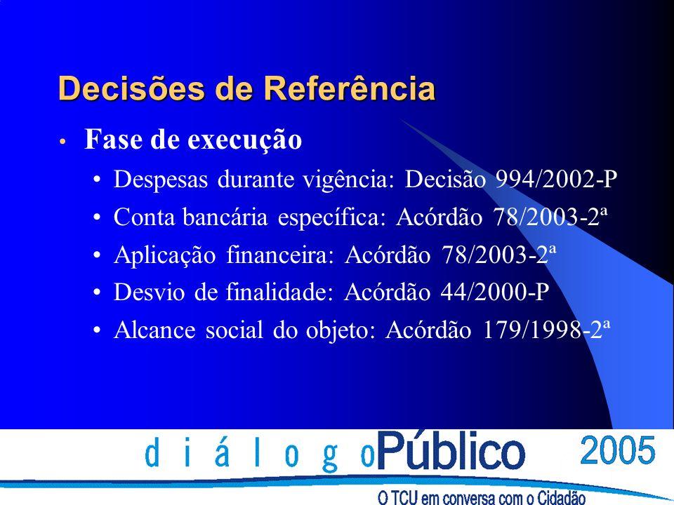 Decisões de Referência Fase de execução Despesas durante vigência: Decisão 994/2002-P Conta bancária específica: Acórdão 78/2003-2ª Aplicação financeira: Acórdão 78/2003-2ª Desvio de finalidade: Acórdão 44/2000-P Alcance social do objeto: Acórdão 179/1998-2ª