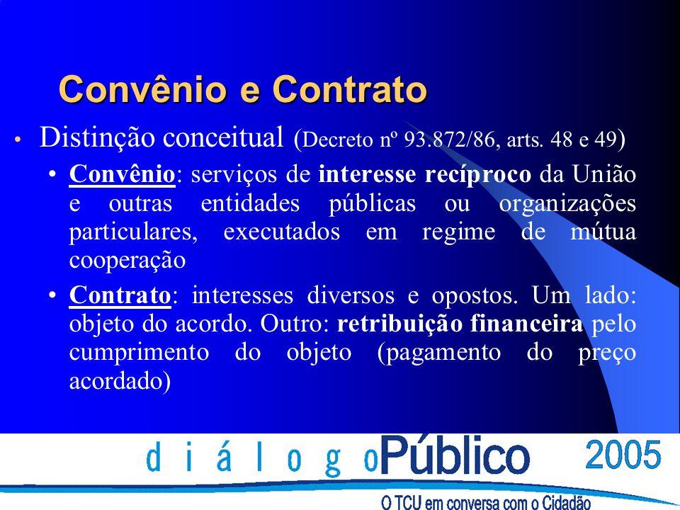 Convênio e Contrato Convênio: Instrumento de descentralização financeira do orçamento Delegação da execução de programas para a esfera local Contrato: Instrumento de execução física do orçamento