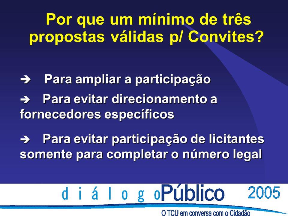 è Para ampliar a participação è Para evitar direcionamento a fornecedores específicos è Para evitar participação de licitantes somente para completar