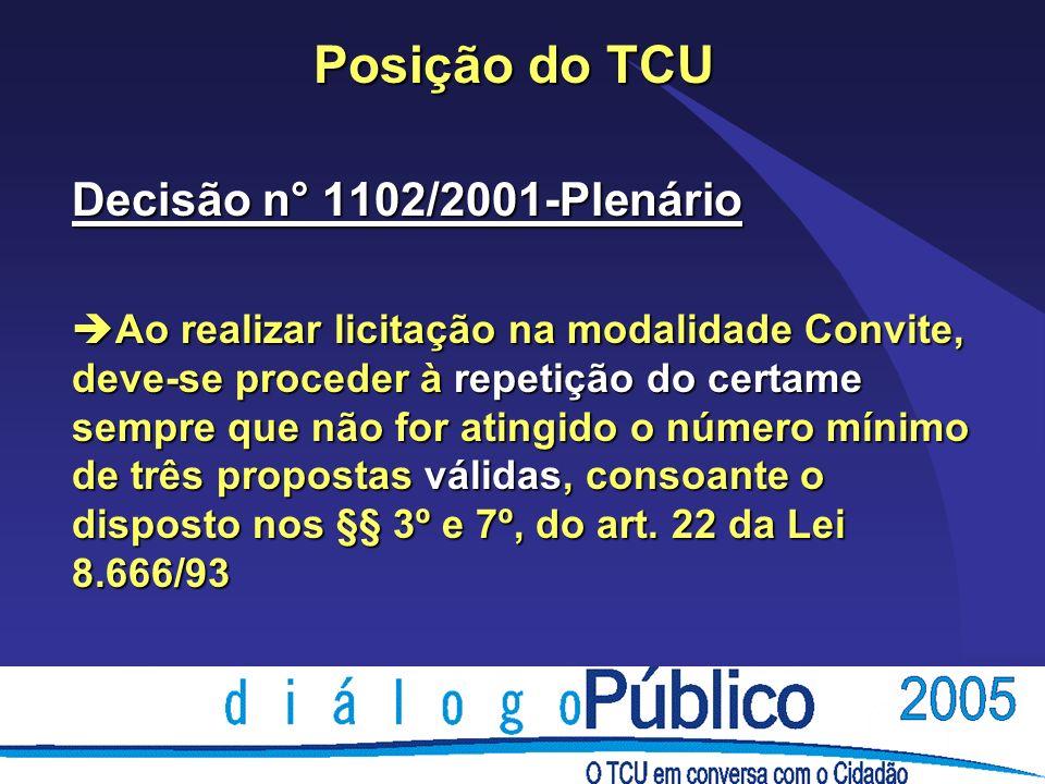 Posição do TCU Decisão n° 1102/2001-Plenário è Ao realizar licitação na modalidade Convite, deve-se proceder à repetição do certame sempre que não for atingido o número mínimo de três propostas válidas, consoante o disposto nos §§ 3º e 7º, do art.