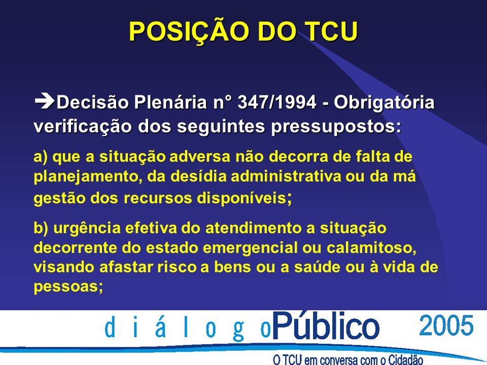 POSIÇÃO DO TCU è Decisão Plenária n° 347/1994 - Obrigatória verificação dos seguintes pressupostos: a) que a situação adversa não decorra de falta de