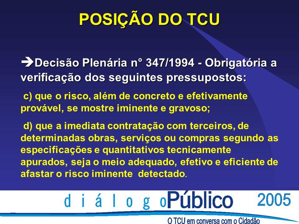 POSIÇÃO DO TCU è Decisão Plenária n° 347/1994 - Obrigatória a verificação dos seguintes pressupostos: c) que o risco, além de concreto e efetivamente
