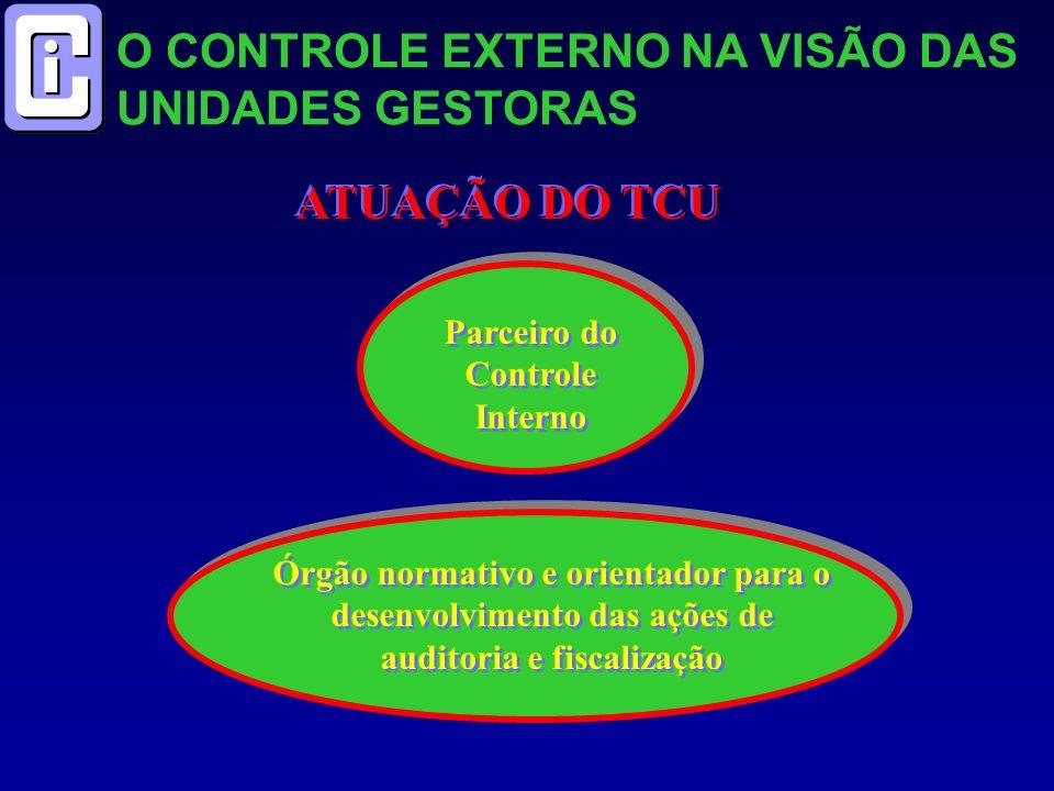O CONTROLE EXTERNO NA VISÃO DAS UNIDADES GESTORAS ATUAÇÃO DO TCU Parceiro do Controle Interno Órgão normativo e orientador para o desenvolvimento das ações de auditoria e fiscalização
