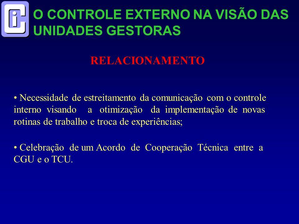 O CONTROLE EXTERNO NA VISÃO DAS UNIDADES GESTORAS RELACIONAMENTO Necessidade de estreitamento da comunicação com o controle interno visando a otimizaç