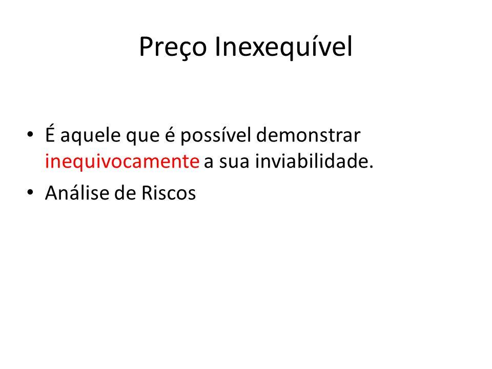 Preço Inexequível É aquele que é possível demonstrar inequivocamente a sua inviabilidade. Análise de Riscos