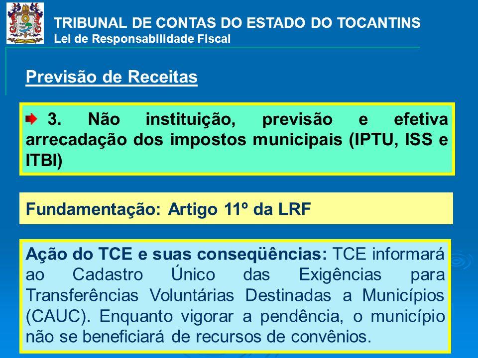 TRIBUNAL DE CONTAS DO ESTADO DO TOCANTINS Lei de Responsabilidade Fiscal 3. Não instituição, previsão e efetiva arrecadação dos impostos municipais (I