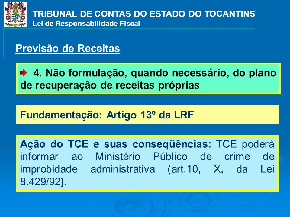 TRIBUNAL DE CONTAS DO ESTADO DO TOCANTINS Lei de Responsabilidade Fiscal Fundamentação: Artigo 13º da LRF Ação do TCE e suas conseqüências: TCE poderá