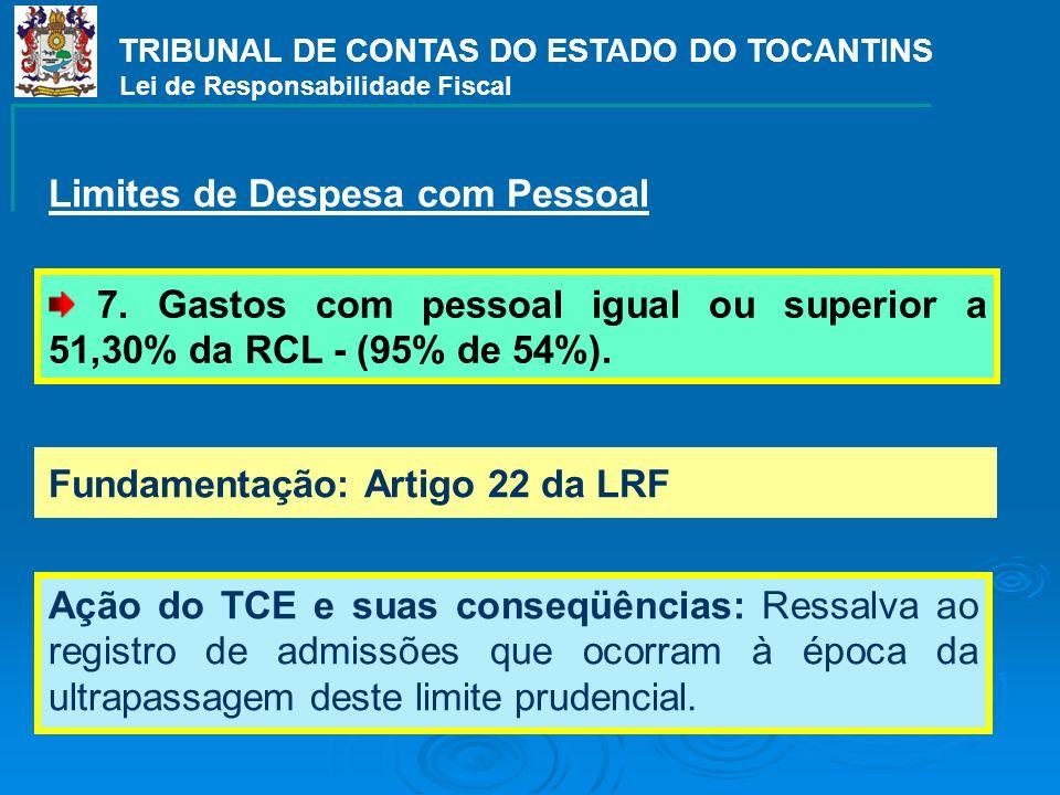 TRIBUNAL DE CONTAS DO ESTADO DO TOCANTINS Lei de Responsabilidade Fiscal Fundamentação: Artigo 22 da LRF Ação do TCE e suas conseqüências: Ressalva ao