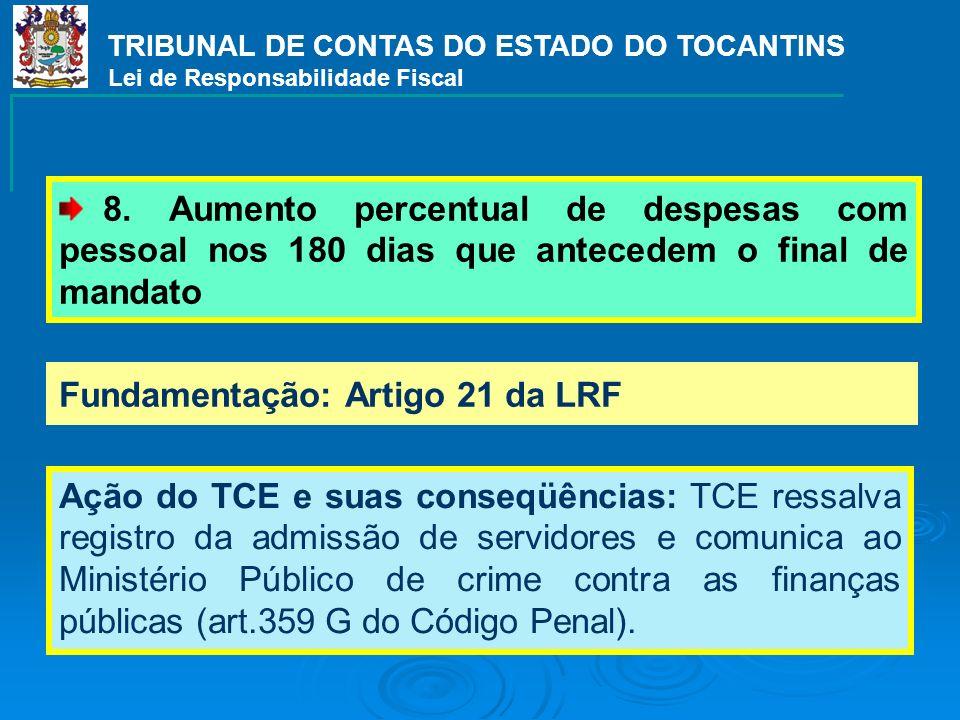 Fundamentação: Artigo 21 da LRF Ação do TCE e suas conseqüências: TCE ressalva registro da admissão de servidores e comunica ao Ministério Público de