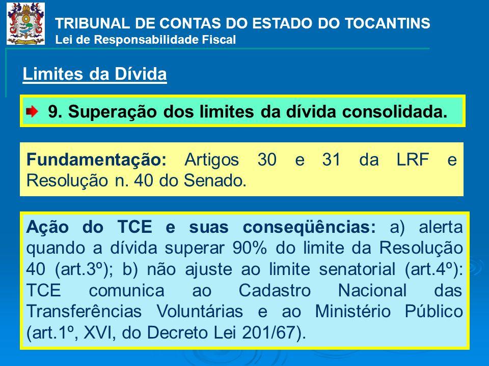 TRIBUNAL DE CONTAS DO ESTADO DO TOCANTINS Lei de Responsabilidade Fiscal 9. Superação dos limites da dívida consolidada. Limites da Dívida Fundamentaç