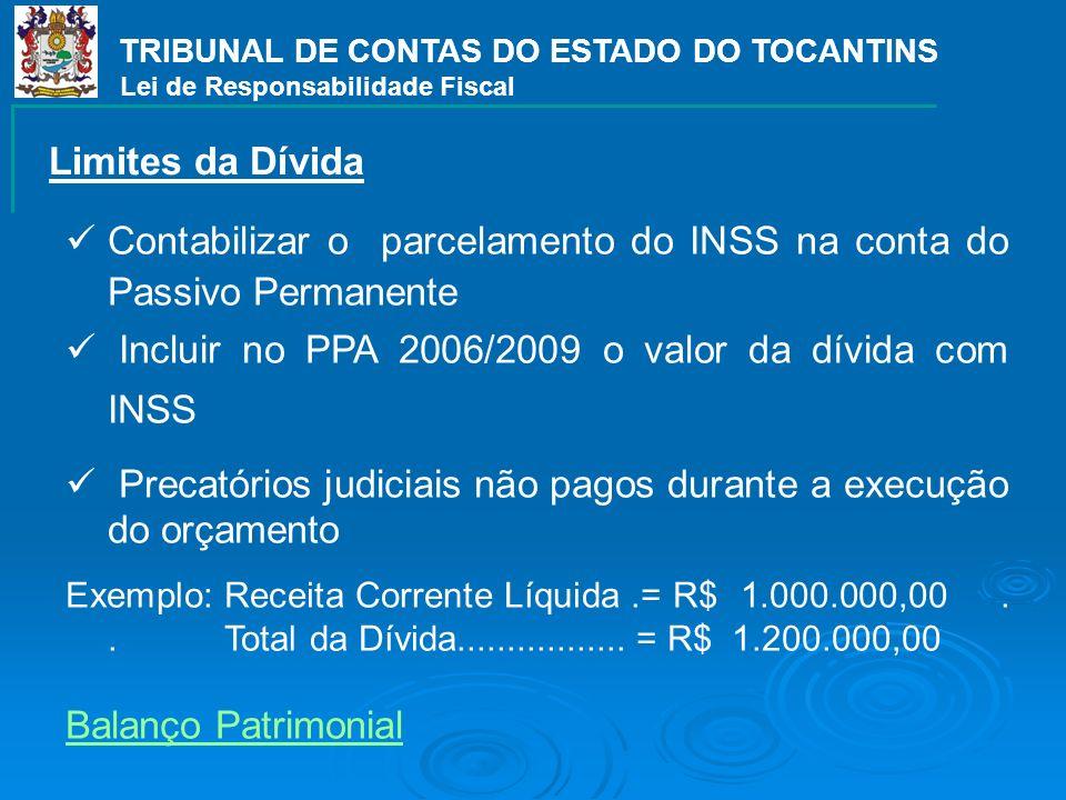 TRIBUNAL DE CONTAS DO ESTADO DO TOCANTINS Lei de Responsabilidade Fiscal Contabilizar o parcelamento do INSS na conta do Passivo Permanente Incluir no