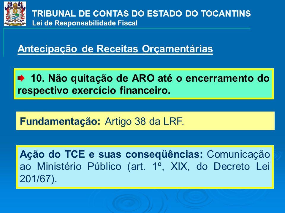 Fundamentação: Artigo 38 da LRF. Ação do TCE e suas conseqüências: Comunicação ao Ministério Público (art. 1º, XIX, do Decreto Lei 201/67). TRIBUNAL D