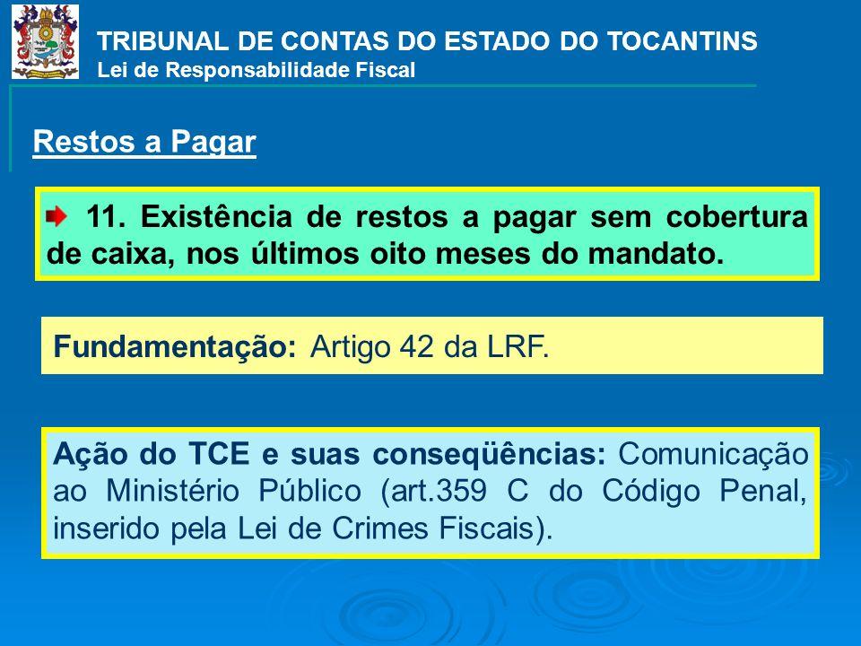 Fundamentação: Artigo 42 da LRF. Ação do TCE e suas conseqüências: Comunicação ao Ministério Público (art.359 C do Código Penal, inserido pela Lei de