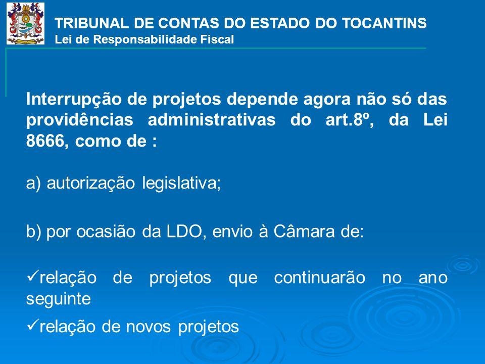 TRIBUNAL DE CONTAS DO ESTADO DO TOCANTINS Lei de Responsabilidade Fiscal Interrupção de projetos depende agora não só das providências administrativas
