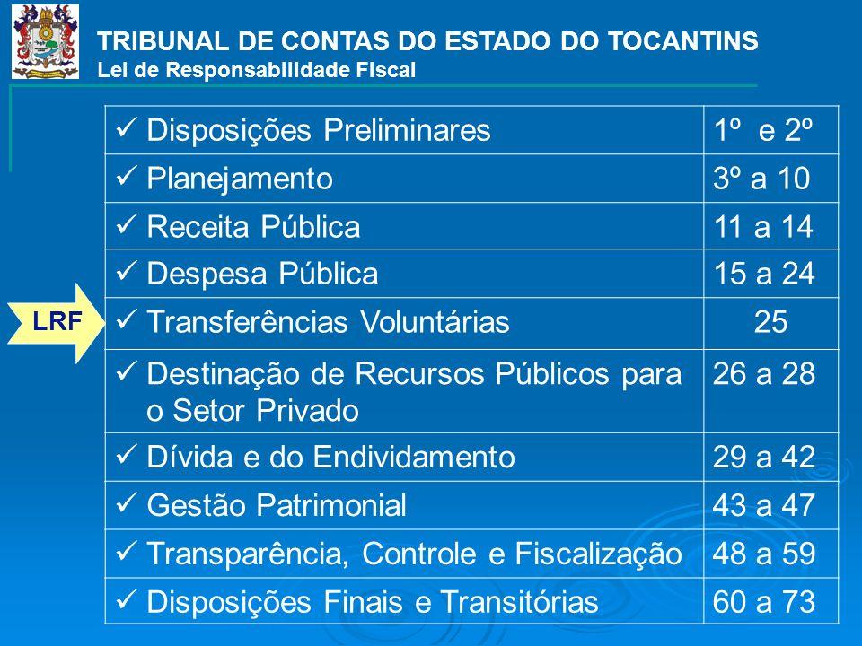 TRIBUNAL DE CONTAS DO ESTADO DO TOCANTINS Lei de Responsabilidade Fiscal Disposições Preliminares1º e 2º Planejamento3º a 10 Receita Pública11 a 14 De