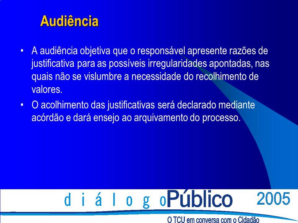 Audiência A audiência objetiva que o responsável apresente razões de justificativa para as possíveis irregularidades apontadas, nas quais não se vislumbre a necessidade do recolhimento de valores.