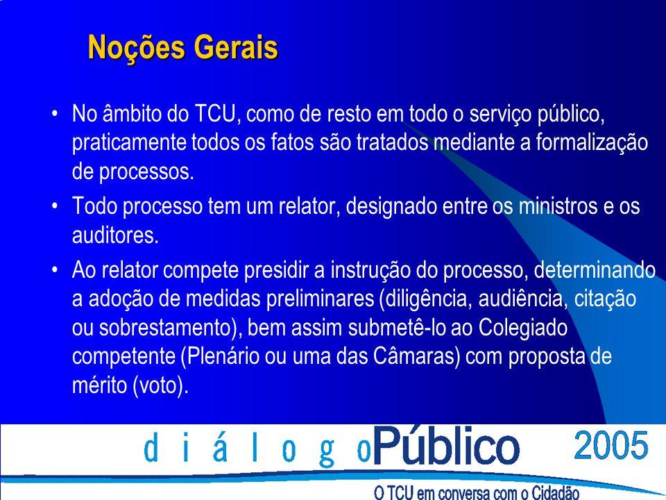 Noções Gerais No âmbito do TCU, como de resto em todo o serviço público, praticamente todos os fatos são tratados mediante a formalização de processos.