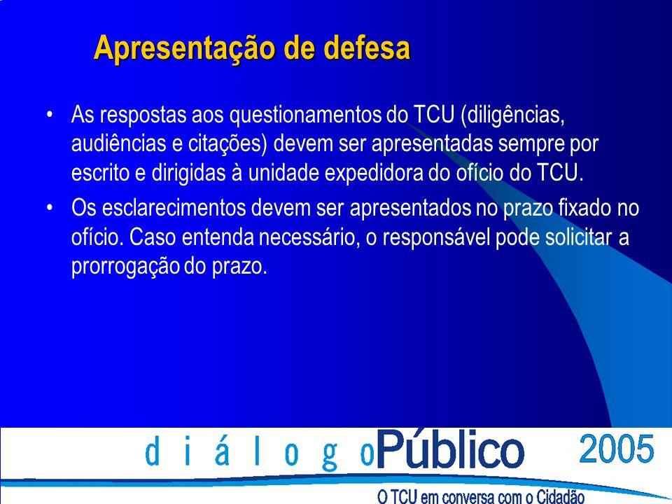 Apresentação de defesa As respostas aos questionamentos do TCU (diligências, audiências e citações) devem ser apresentadas sempre por escrito e dirigidas à unidade expedidora do ofício do TCU.