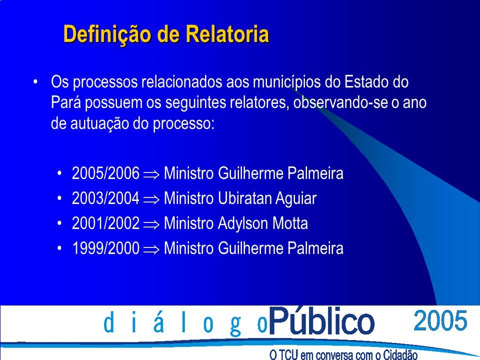 Definição de Relatoria Os processos relacionados aos municípios do Estado do Pará possuem os seguintes relatores, observando-se o ano de autuação do processo: 2005/2006 Ministro Guilherme Palmeira 2003/2004 Ministro Ubiratan Aguiar 2001/2002 Ministro Adylson Motta 1999/2000 Ministro Guilherme Palmeira