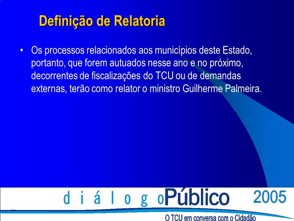 Definição de Relatoria Definição de Relatoria Os processos relacionados aos municípios deste Estado, portanto, que forem autuados nesse ano e no próximo, decorrentes de fiscalizações do TCU ou de demandas externas, terão como relator o ministro Guilherme Palmeira.