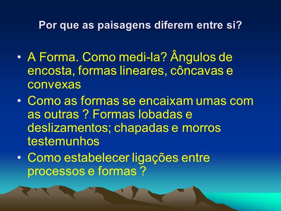 Por que as paisagens diferem entre si? A Forma. Como medi-la? Ângulos de encosta, formas lineares, côncavas e convexas Como as formas se encaixam umas