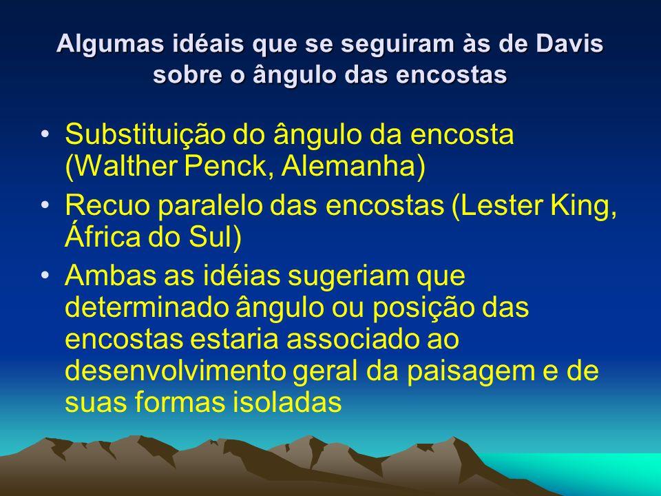 Algumas idéais que se seguiram às de Davis sobre o ângulo das encostas Substituição do ângulo da encosta (Walther Penck, Alemanha) Recuo paralelo das