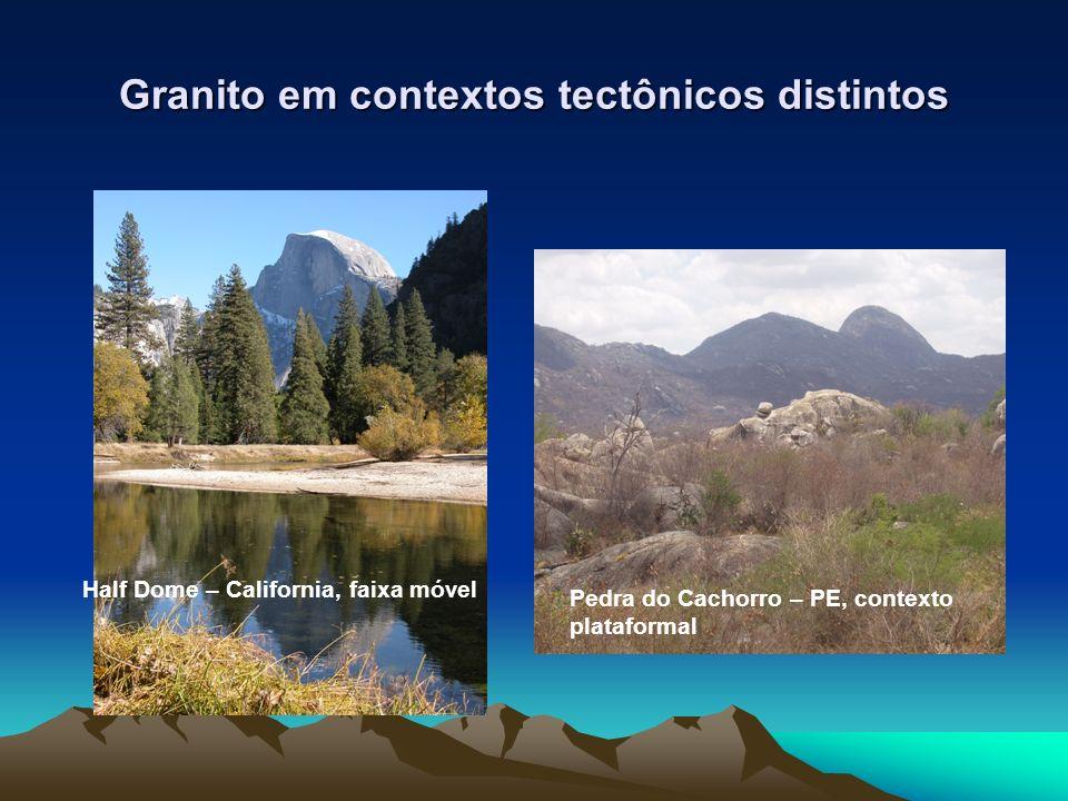 Granito em contextos tectônicos distintos Pedra do Cachorro – PE, contexto plataformal Half Dome – California, faixa móvel