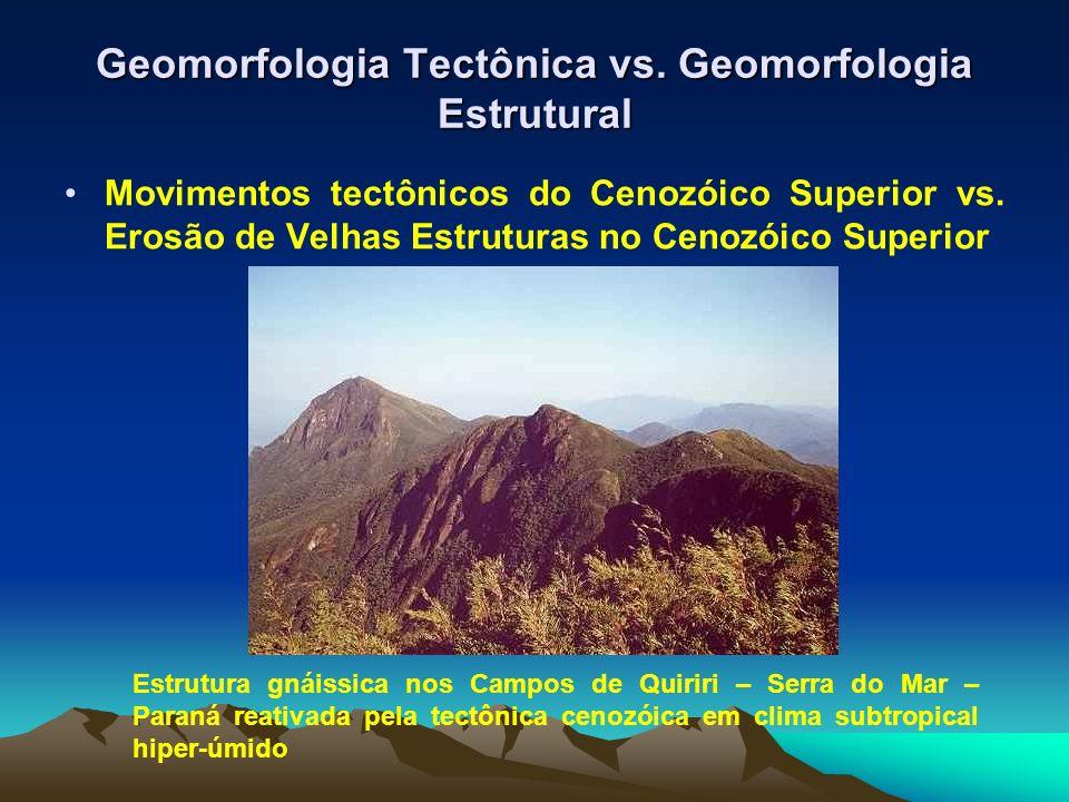 Geomorfologia Tectônica vs. Geomorfologia Estrutural Movimentos tectônicos do Cenozóico Superior vs. Erosão de Velhas Estruturas no Cenozóico Superior