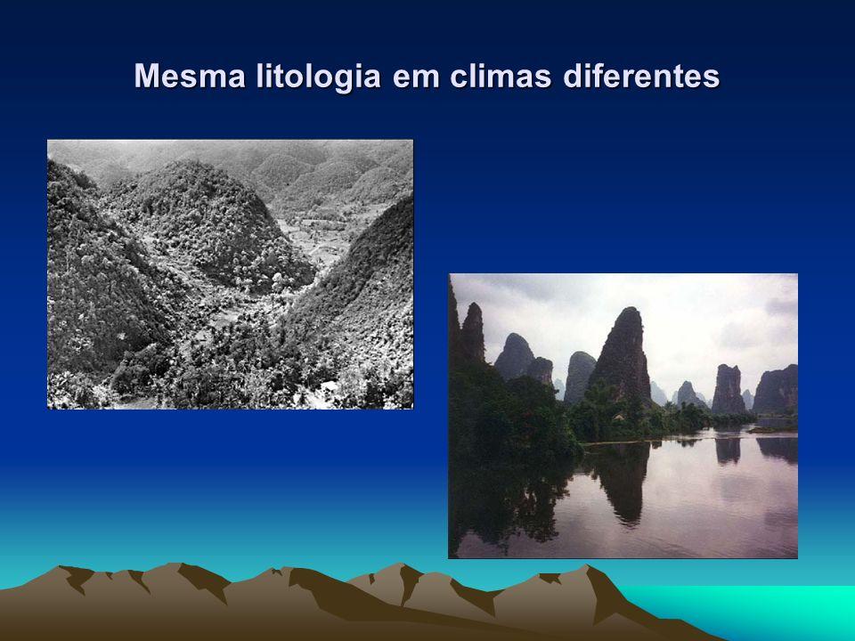 Mesma litologia em climas diferentes