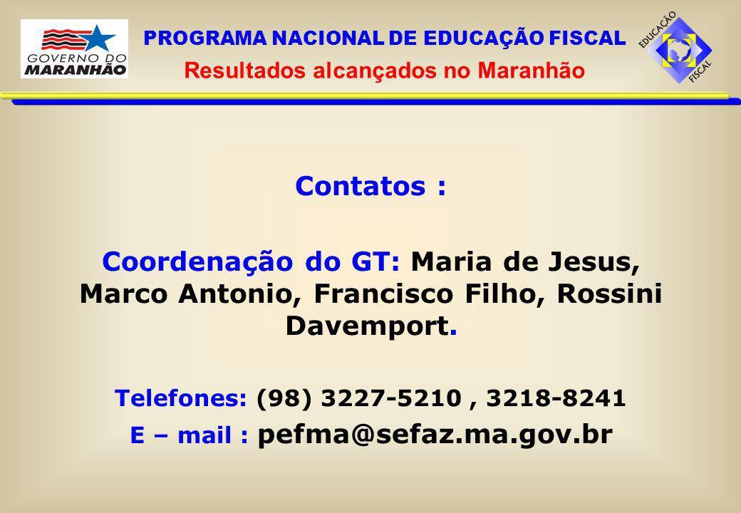Contatos : Coordenação do GT: Maria de Jesus, Marco Antonio, Francisco Filho, Rossini Davemport. Telefones: (98) 3227-5210, 3218-8241 E – mail : pefma