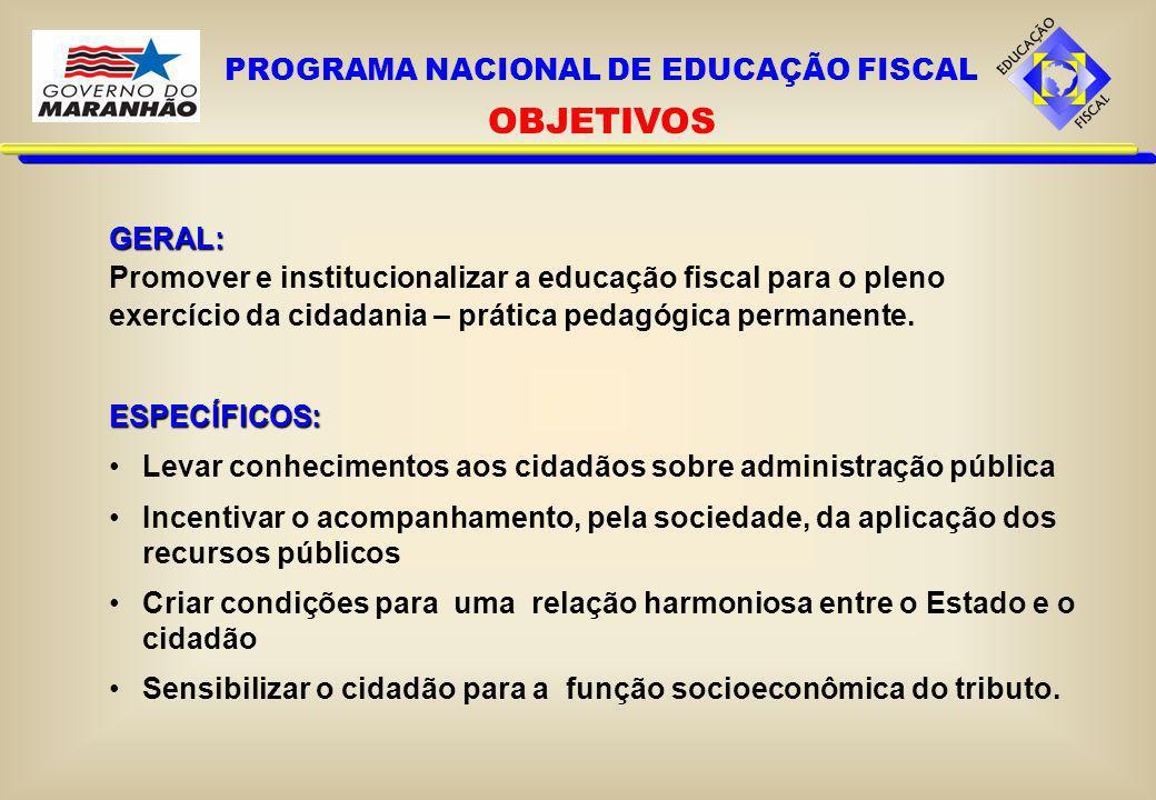 GERAL: Promover e institucionalizar a educação fiscal para o pleno exercício da cidadania – prática pedagógica permanente.ESPECÍFICOS: Levar conhecime