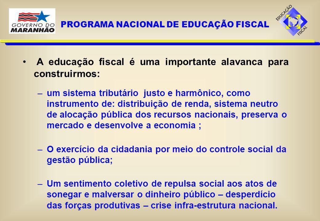 A educação fiscal é uma importante alavanca para construirmos: –um sistema tributário justo e harmônico, como instrumento de: distribuição de renda, s