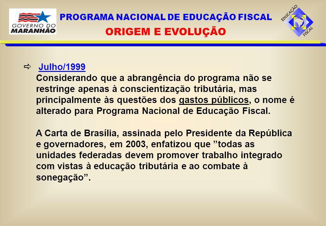 PROGRAMA NACIONAL DE EDUCAÇÃO FISCAL ORIGEM E EVOLUÇÃO Julho/1999 Considerando que a abrangência do programa não se restringe apenas à conscientização