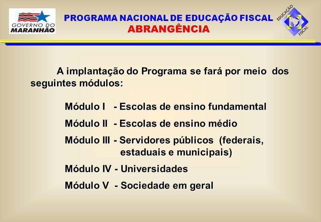 A implantação do Programa se fará por meio dos seguintes módulos: Módulo I - Escolas de ensino fundamental Módulo II - Escolas de ensino médio Módulo