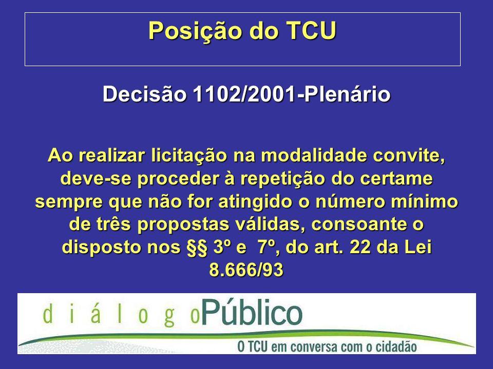 Posição do TCU Decisão 1102/2001-Plenário Ao realizar licitação na modalidade convite, deve-se proceder à repetição do certame sempre que não for atingido o número mínimo de três propostas válidas, consoante o disposto nos §§ 3º e 7º, do art.