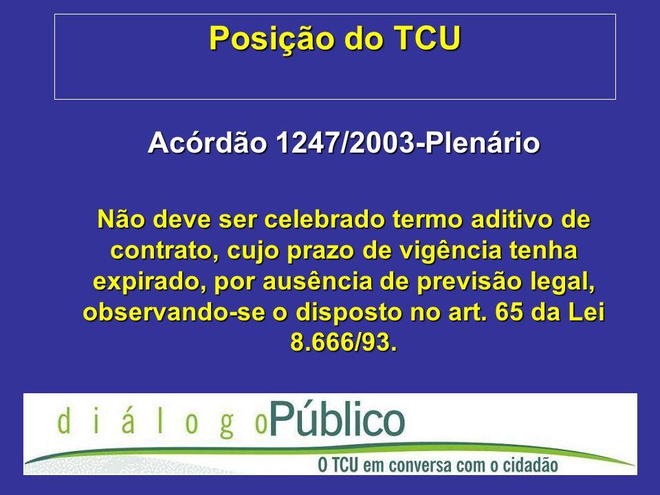 Posição do TCU Acórdão 1247/2003-Plenário Não deve ser celebrado termo aditivo de contrato, cujo prazo de vigência tenha expirado, por ausência de previsão legal, observando-se o disposto no art.