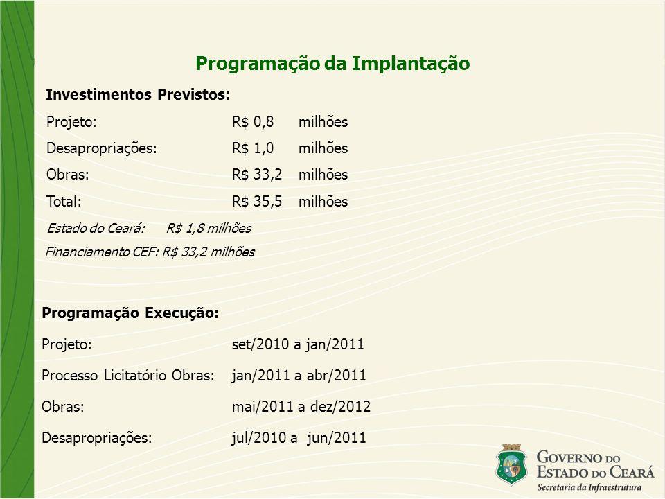 Investimentos Previstos: Projeto:R$ 0,8milhões Desapropriações:R$ 1,0milhões Obras: R$ 33,2milhões Total:R$ 35,5 milhões Estado do Ceará: R$ 1,8 milhões Financiamento CEF: R$ 33,2 milhões Programação Execução: Projeto:set/2010 a jan/2011 Processo Licitatório Obras: jan/2011 a abr/2011 Obras: mai/2011 a dez/2012 Desapropriações:jul/2010 a jun/2011 Programação da Implantação